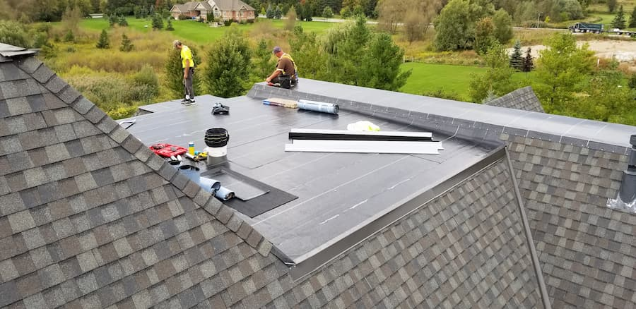 Residential flat roofing installation in Pickering