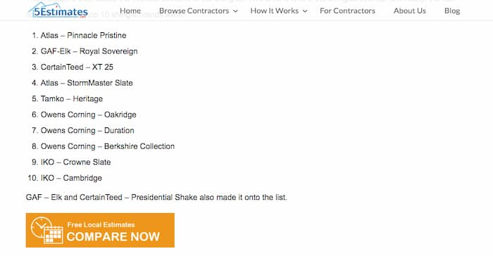 Biased list of shingle reviews from american manufacturers