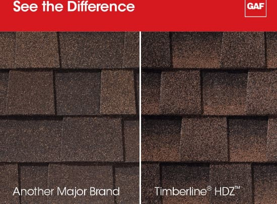 Inferior shingles vs a recognized brand